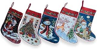 BestPysanky Set of 5 Santa, Snowman, Reindeer & Tree Christmas Stockings 18 Inches