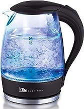 Elite Platinum EKT-300 Glass Electric Tea Kettle Hot Water Heater Boiler BPA Free with LED Indicator, Fast Boil and Auto Shut-Off, 1.7L, Black