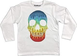 thedifferent T-Shirt Manica Lunga Unisex Bambino Bambina Teschio Messicano Skull Bianco