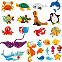 Farram 25Pieces 5D Sea World Diamond Painting Kits,DIY Mosaic Diamond Stickers Craft by Numbers Point Drill Tool for Kids and Adult Beginners