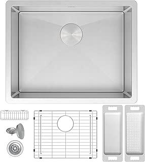 ZUHNE Modena 21 x 18 Inch Laundry, Utility, Kitchen, Prep and RV 16G Stainless Undermount Sink W. Grate, Caddy, Colander, Strainer (Fits 24