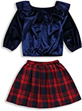 HAPPYMA Christmas Outfits Toddler Baby Girl Skirts Sets Velvet Ruffle Long Sleeve Blouse Top + Plaid Dress Fall Winter Clothes 18M-6T