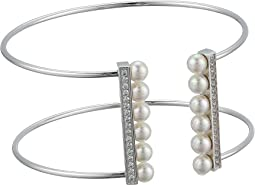 5mm Round Pearls and CZ Accents On A Titanium Wire Bangle