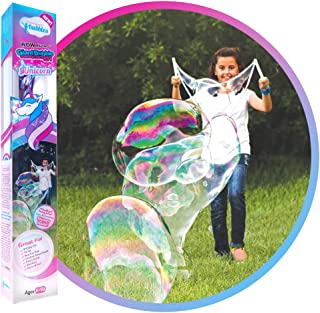 WOWMAZING Unicorn Giant Bubble Kit: Incl. Wand, 2 Big Bubble Concentrate Pouches and 8 Sun-Activated Magical Stickers   Ou...