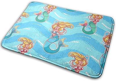 Lovely Mermaid Carpet Non-Slip Welcome Front Doormat Entryway Carpet Washable Outdoor Indoor Mat Room Rug 15.7 X 23.6 inch