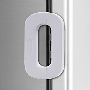 White Home Refrigerator Fridge Freezer Door Lock -Baby Safety Child Lock,Latch Catch Toddler Kids Child Cabinet Fridge Locks,Easy to Install and Use 3M Adhesive no Tools Need or Drill (1PC White)