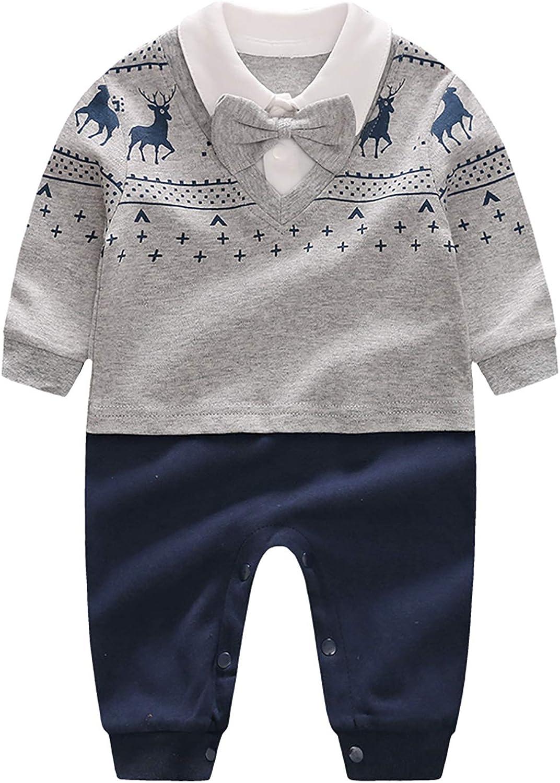 Newborn Baby Boy Clothing Set Long Sleeve Gentleman Formal Tuxedo Outfit Suit Bowtie Elk (0-3 Months, Grey)