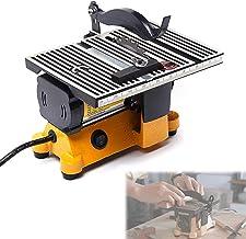 Sierra de mesa portátil de sobremesa, Mini sierra de mesa, sierra de mesa de precisión eléctrica, sierra circular silenciosa con 3 hojas de sierra, profundidad de corte de 15 mm, 5000 rpm Ideal para m