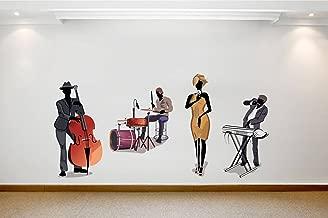 Rawpockets Decals 'Club Music Band - Living Room' Wall Sticker - (PVC Vinyl, 130 cm x 65 cm, Multicolour)