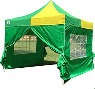 DELTA Canopies 10'x10' Ez Pop up Canopy Party Tent Instant Gazebo 100% Waterproof Top with 4 Removable Green/Yellow - E Model