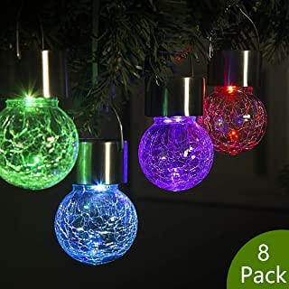 GIGALUMI 8 Pack Hanging Solar Lights Christmas Yard Decoration,Multi-Color Changing Cracked Glass Hanging Ball Lights Waterproof Outdoor Solar Lanterns for Garden, Yard, Patio, Lawn