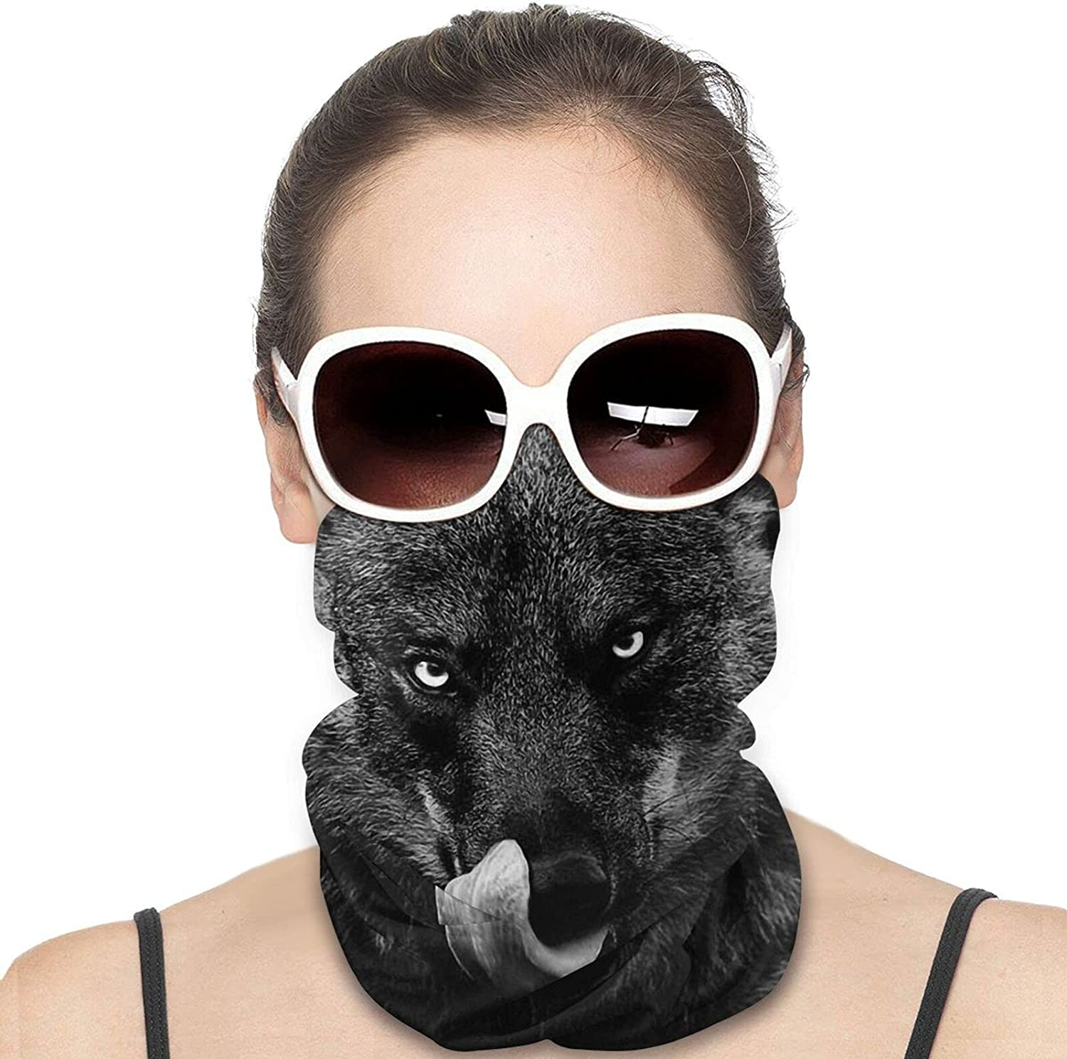 Tongue Out Wolf Neck Gaiter Windproof Face Cover Balaclava Outdoors Magic Scarf Headband for Men Women Motorcycling Fishing Running Climbing