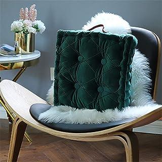 NMDCDH Juego de 1 cojín de Asiento Cojín de Silla, Felpa, cojín de Asiento, cojín Decorativo, cojín de jardín para sillas de Uso Interior y Exterior (Verde Oscuro, 40 cm)