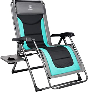 EVER ADVANCED Oversize XL Zero Gravity Recliner Padded Patio Lounger Chair with Adjustable Headrest Support 350lbs, Green (Renewed)