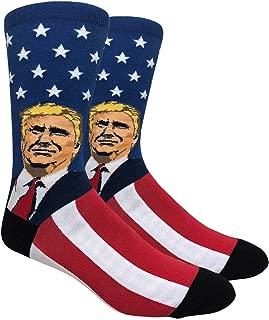 FineFit Men's Novelty Fun Crew Socks for Dress or Casual - President Trump, American Eagle, American Flag
