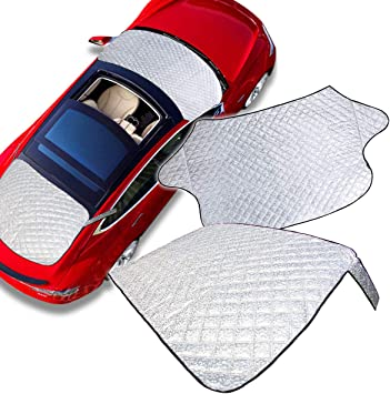 Zone Tech 2-Piece All Weather Windshield Cover Protector - Silver Premium Quality Summer Winter Rear and Front Windshield Cover Protector with Flaps: image