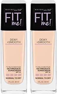 Maybelline New York Fit Me Dewy + Smooth Liquid Foundation Makeup With Spf 18, Porcelain, 2 Fluid Ounce