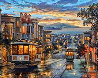 ABEUTY DIY Paint by Numbers for Adults Beginner - Tram Evening Dusk Street 16x20 inches Number Painting Anti Stress Toys (No Frame)