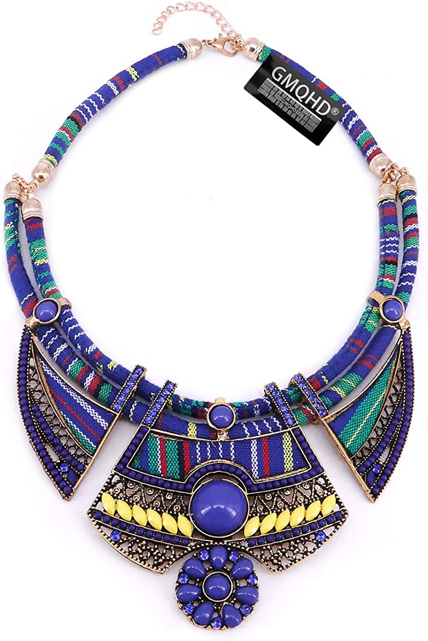 Chunky Bib Statement Torque Choker Bohemia Indian African Egypt Magnetic Clasps Multi Layers Tribal Necklaces. Fashion Jewelry Sets Collar Best Friend Gift Box for Women.