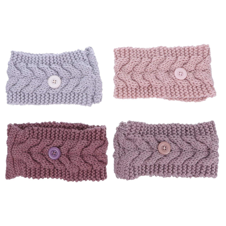 Minkissy 4pcs Winter Knitted Headband Fuzzy Fleece Headwrap Earwarmer Chunky Ear Warmers Suitable for Daily Wear and Sport