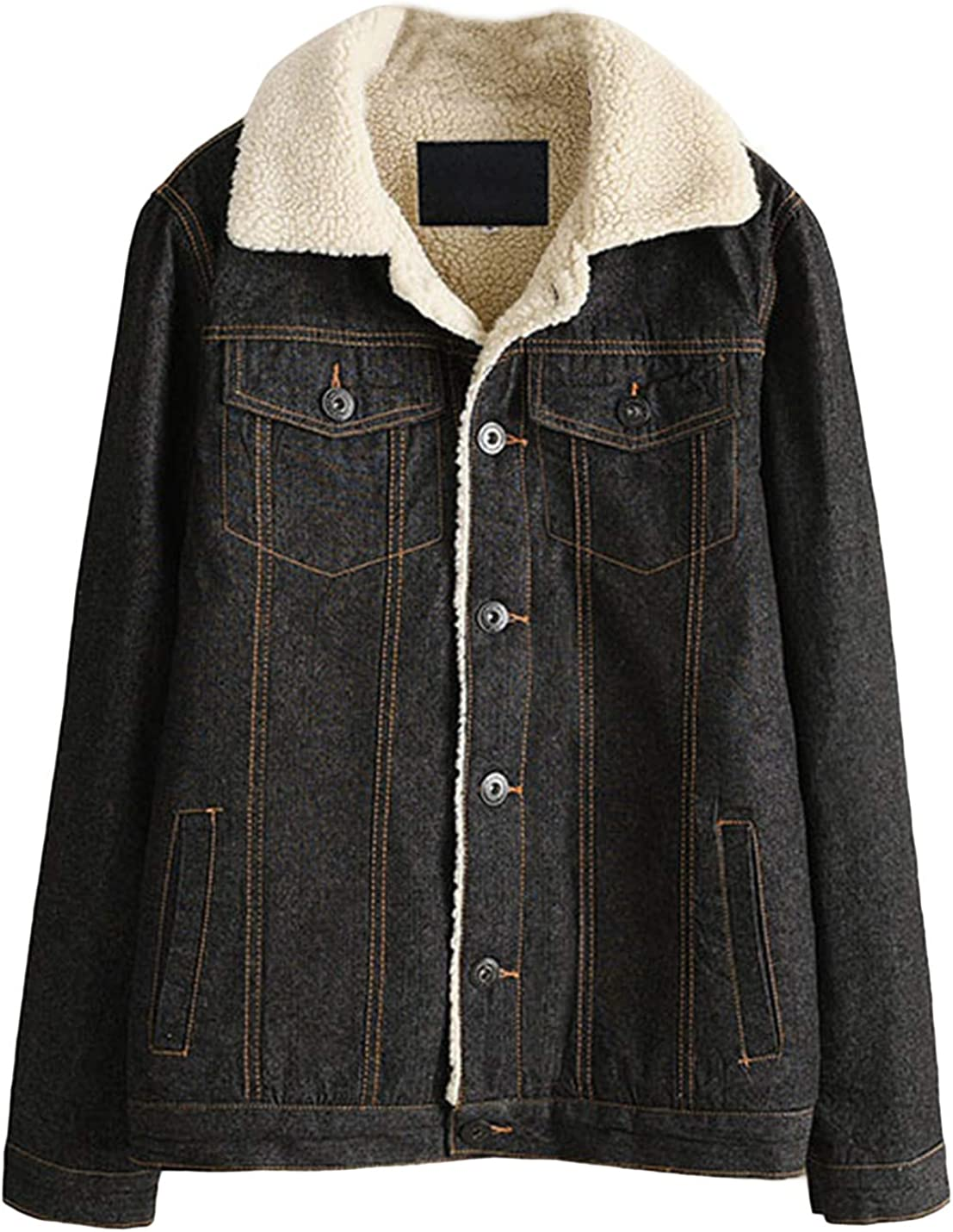 Lentta Women's Classic Relax Fit Thick Sherpa Lined BF Style Denim Jean Jacket