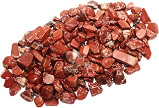 ZenQ 1 lb Red Jasper Tumbled Stone Chips Crushed Natural Crystal Quartz Pieces 0.79-1.25 Inch Each