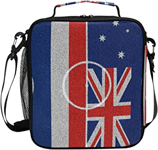 VAMIX Flags Thailand Australia On Football Field Lunch Box Insulated Lunch Thermal Cooler Bag Tote Freshness Bags Adjustable Shoulder Strap for School Office