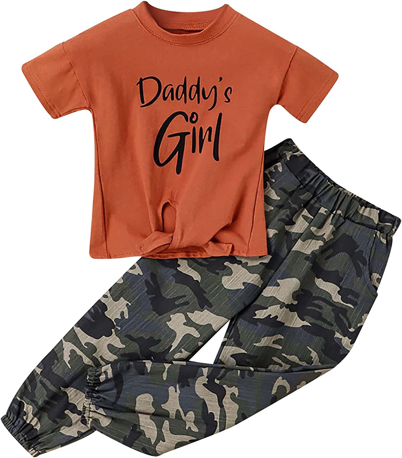 Kaerm Kids Girls Casual Outfit Camouflage Shorts Sleeves T-Shirt Top with Pants 2 Pieces Clothing Set