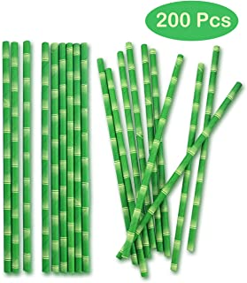 Finico 200 Pieces Biodegradable Paper Straws Bamboo Paper Straws, Drinking Decoration Straws