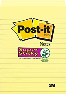 Post-it Super Sticky Notes, 2x Sticking Power, 4 in x 6 in, Canary Yellow, Lined, 4 Pads/Pack, 45 Sheets/Pad (4621-SSCY)