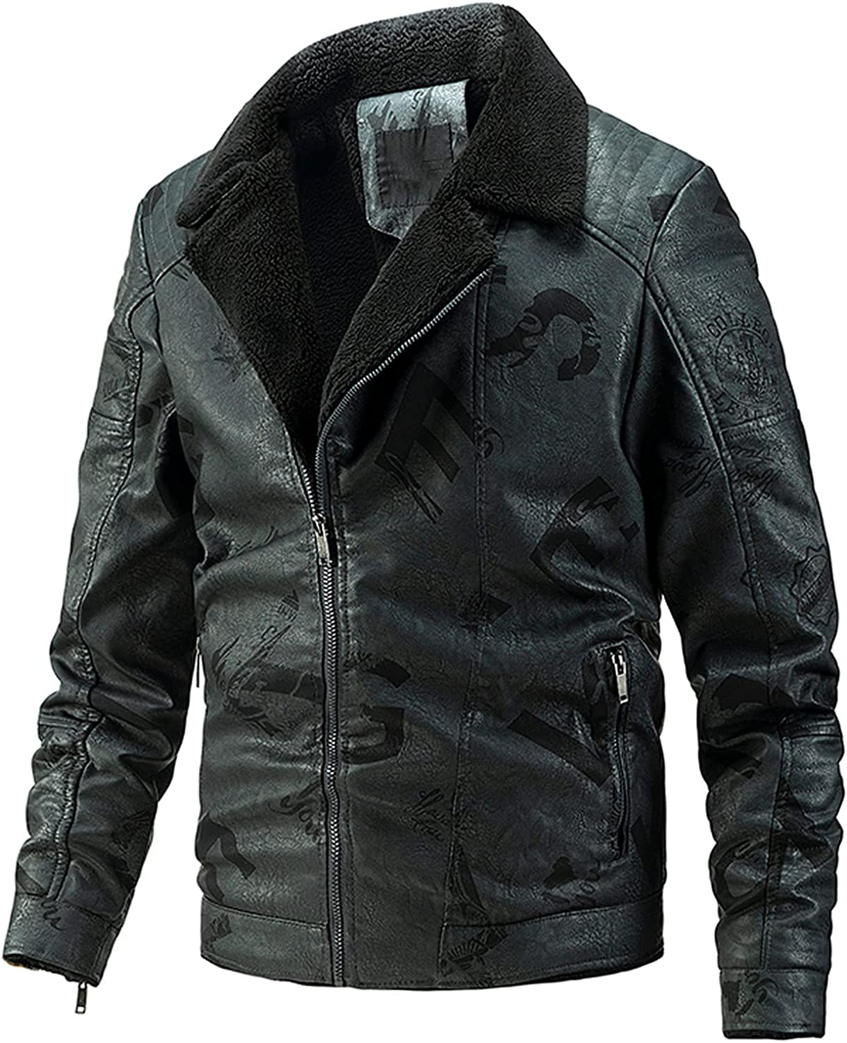 Beshion Men Casual Sherpa Winter Warm Jacket Lined Fur Faux Leather Jacket Collar Quilted Biker Coat with Zipper Pockets