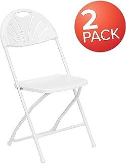 Flash Furniture 2 Pk. HERCULES Series 650 lb. Capacity White Plastic Fan Back Folding Chair