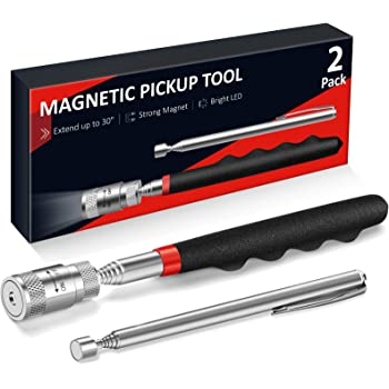 """Magnetic Pickup Tool Gifts for Men, 2 Pack Cool Gifts Gadget, LED Telescoping Flashlight Pick Up + Slim 25"""" Telescopic Extendable Magnet Stick, Unique Men's Christmas Birthday Gifts for Dad Guy Father"""