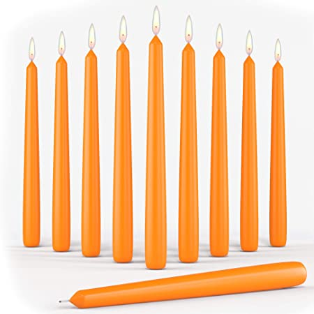 Set of 10 Orange Dinner Taper Candles 10 Inch Unscented Tall Dripless Candlesticks Bulk for Wedding Restaurant Home Decoration Spa Church Smokeless Vegan