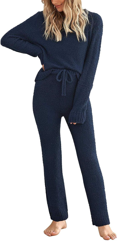 GRAPENT Women's Casual Long Sleeve Pajama Set Fuzzy Knitted Sweater Pj Loungewear