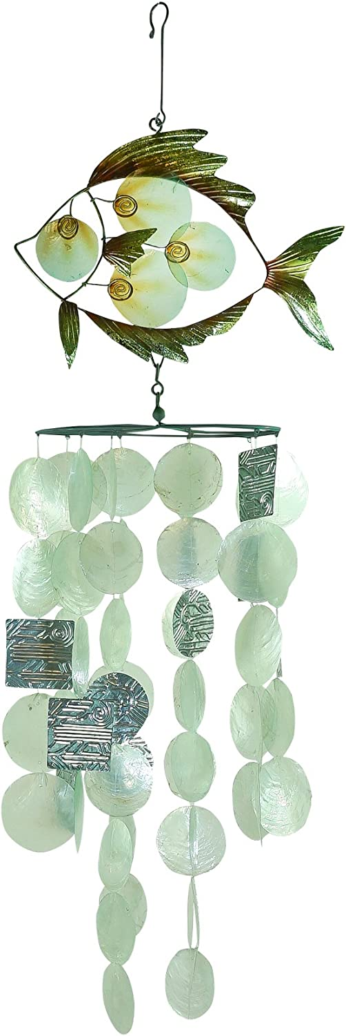In the Breeze 7014 Capiz Tropical 12 Fish 70% OFF Outlet Decorative Chime 2021 model Wind