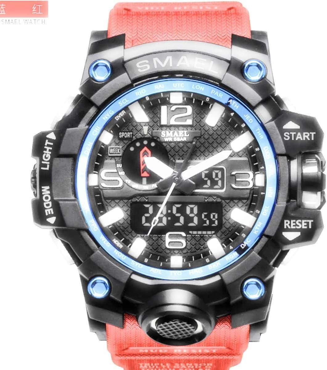Amazon Com Psalmtrading Smael Multi Function Men S Women S Sports Analog Quartz Dual Display Waterproof Watches Led Backlight 1708 Black Blue Health Personal Care