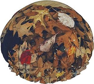 Jesienny suchy liść wodoodporna czapka prysznicowa z elastycznym obszyciem dwustronna konstrukcja do prysznica czepek na c...