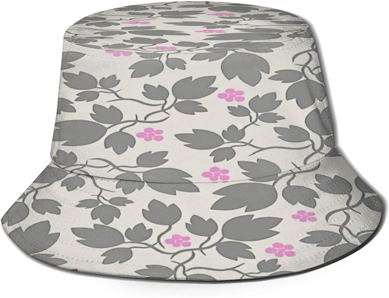 Grey Max 55% 2021 new OFF Leaf Pink Flower Bucket Packable Summer Unisex Hat Sun