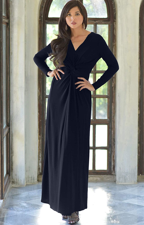 KOH KOH Womens Long Sleeve Semi Formal Fall Winter Flowy Gown Maxi Dresses