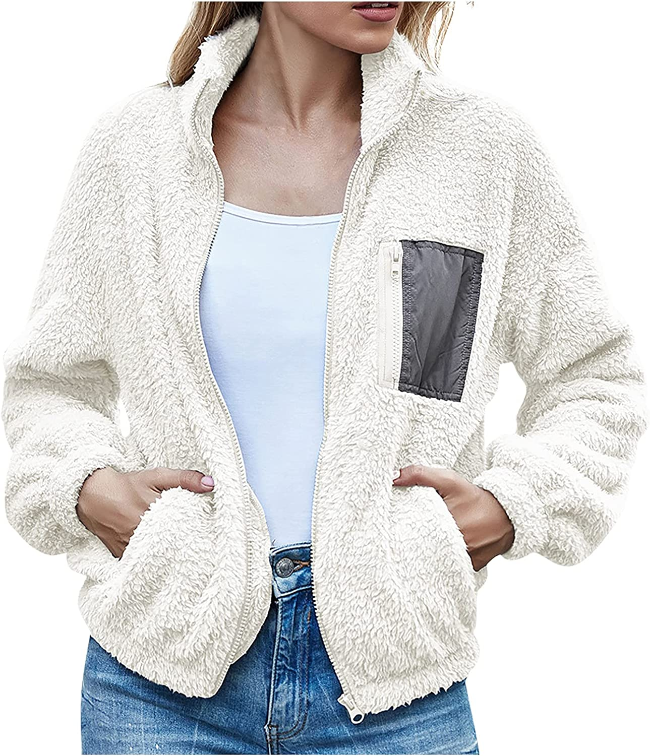 Winter Outfits for Women Casual Loose Solid Color Coat Plush Long-Sleeved Zip Up Jacket