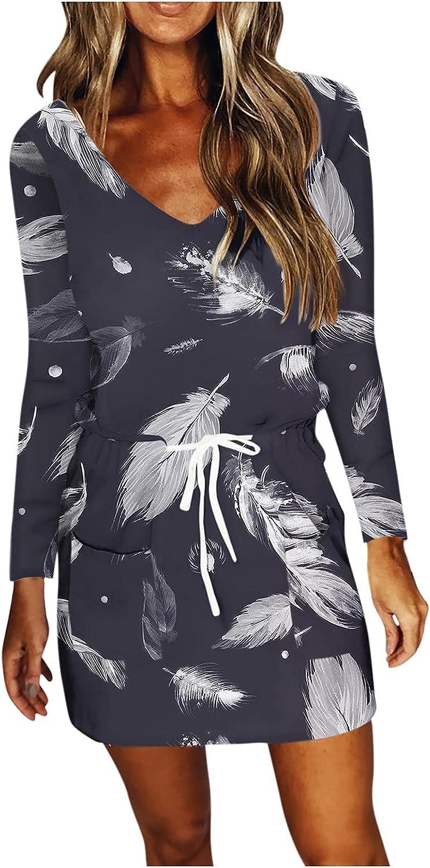 Masbird Women Summer Dress for Women 2021, Womens Casual V Neck Short Sleeve Dress Stripe Drawstring Mini Workout Dress