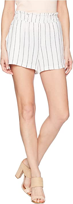 Pinstripe Linen Pull-On Shorts