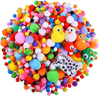 Caydo 1500 Pieces Fuzzy 5 Sizes Multicolor Assorted Pompoms, 3 Sizes Glitter Pompomsand 4 Sizes Wiggle Eyes for DIY, Creative Crafts Decorations