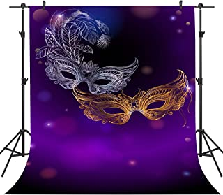 Masquerade Violet Backdrops Gold and Silver Mask Photography Backgrounds Vinyl 5x7ft Dress-up Party Rave Party Backdrop Photo Booth Props PHMOJEN LFPH471