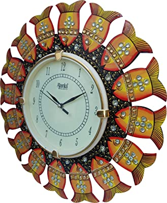 Trust Zone Analog Fish Shape Hand Made Wooden Wall Clock (14 x 14 Inch)