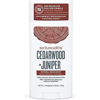 Schmidt's Aluminum Free Natural Deodorant for Women and Men, Cedarwood + Juniper 24 Hour Odor Protection, Certified Cruelty Free, Vegan Deodorant, 3.25 oz