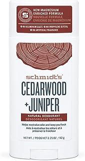 Schmidt's Aluminum Free Natural Deodorant For 24 Hour Odor Protection and Freshness, Cedarwood + Juniper Vegan, Certified ...