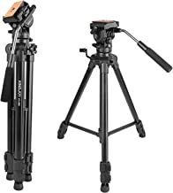 Video Tripod with Fluid Head, Kamisafe KINGJOY VT-1500 Travel Camera Tripod Aluminum Compatible for DSLR SLR Nikon Canon Sony Olympus Camcorder DV with Carry Bag