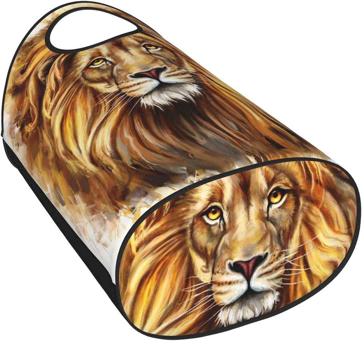 Large Storage Basket with Handles Bargain sale Mesa Mall Painting Lion Digital Lio Head